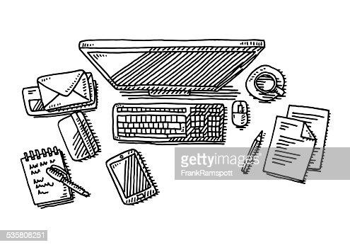 office desk computer drawing vector art getty images. Black Bedroom Furniture Sets. Home Design Ideas