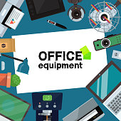 Office equipment banner, poster vector illustration. Gadgets and tools for office work. Desktop computer, laptop, tablet, printer, coffee machine, lamp, projector, scanner, fan, web cam.