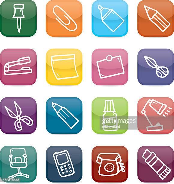 office equipment icon set - correction fluid stock illustrations