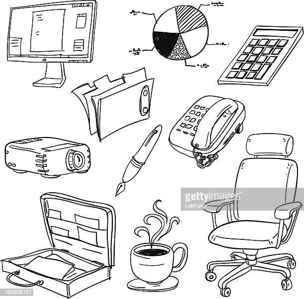Office-Ausstattung in schwarz und weiß