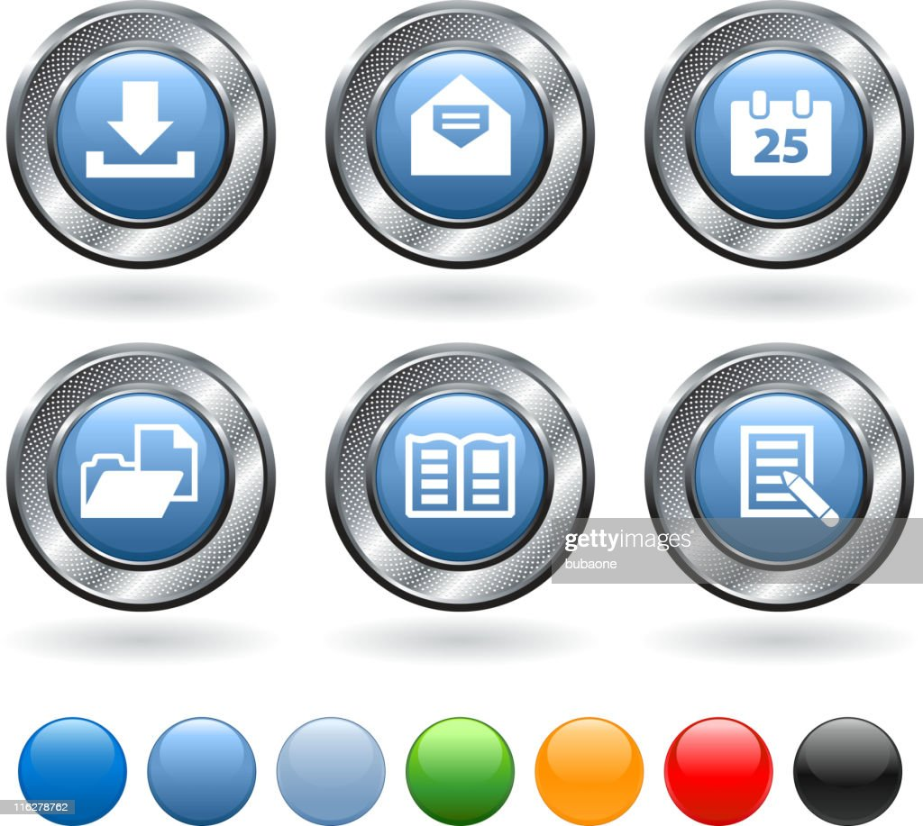 Office equipment royalty free vector icon set on metallic button