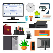 Office Equipment Set Vector. Keyboard, Electronics Digital Items. Icons. Business Work Flow. Paper And Desktop Objects. Technology. Isolated Flat Illustration