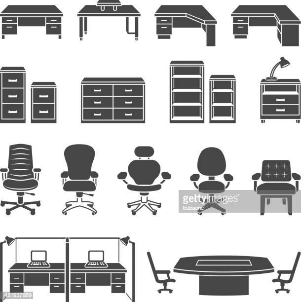 office furniture black & white royalty free vector icon set - display cabinet stock illustrations, clip art, cartoons, & icons