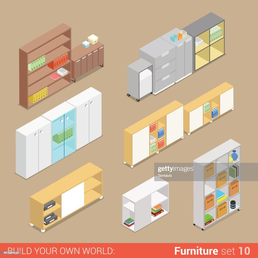 creative furniture icons set flat design. Creative Furniture Icons Set Flat Design. Office 10 Cupboard  Folder Shelf Storage Closet Design E