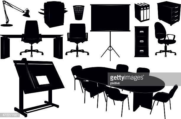 ilustrações, clipart, desenhos animados e ícones de mobília de escritório silhuetas - mesa mobília