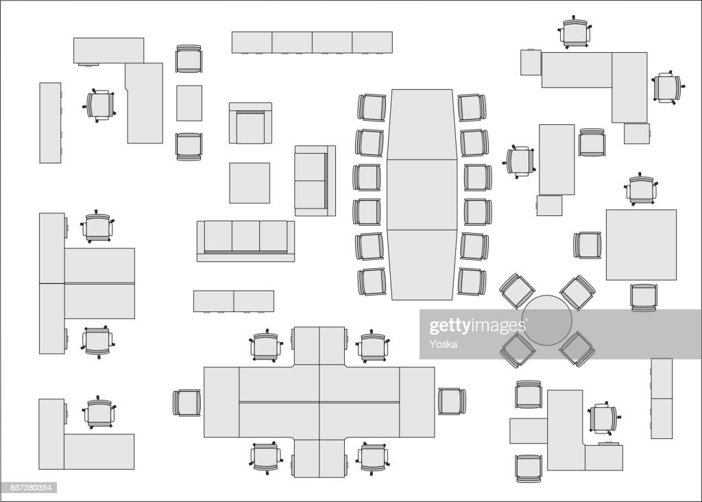 Office Furniture Top View Vector Art