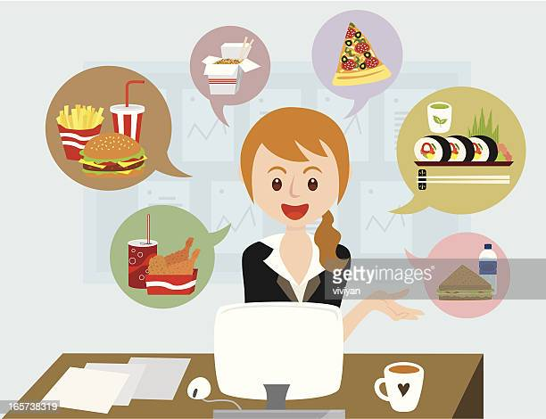 office girl with lunch ideas - lunch break stock illustrations, clip art, cartoons, & icons