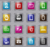 Office glass icons set