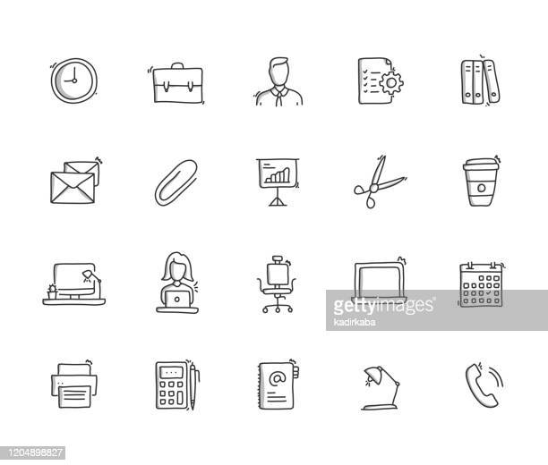 オフィス手描き線アイコンセット - 描く点のイラスト素材/クリップアート素材/マンガ素材/アイコン素材
