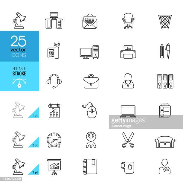 office icon set. editable stroke. - office cubicle stock illustrations, clip art, cartoons, & icons