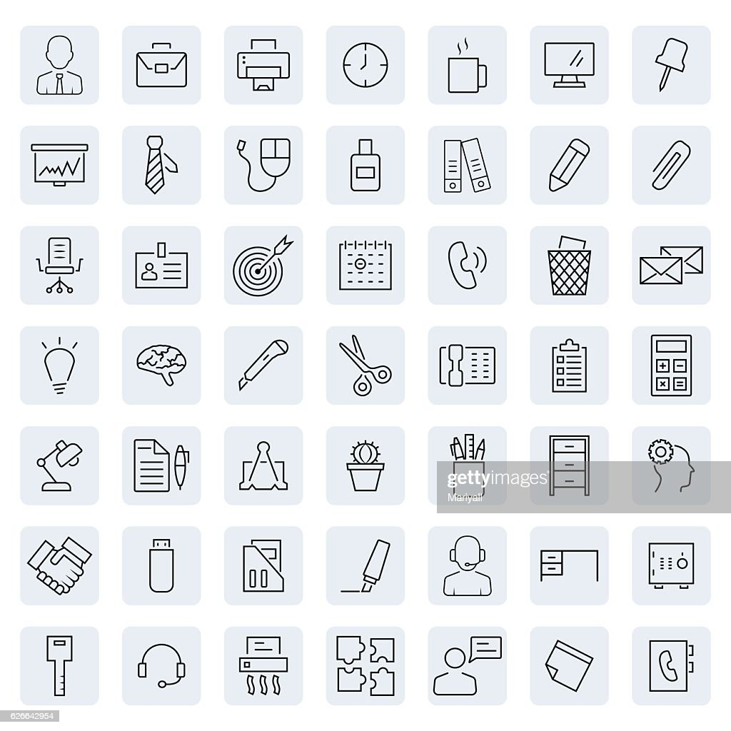 Office icon set in thin line style. Vector illustration.