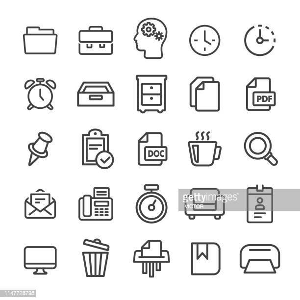 office icon set - smart line series - fileira stock illustrations
