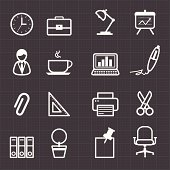 Office icons and black background