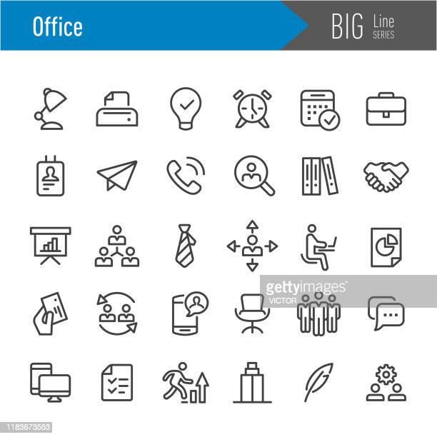 stockillustraties, clipart, cartoons en iconen met office-pictogrammen-grote lijn serie - groep objecten