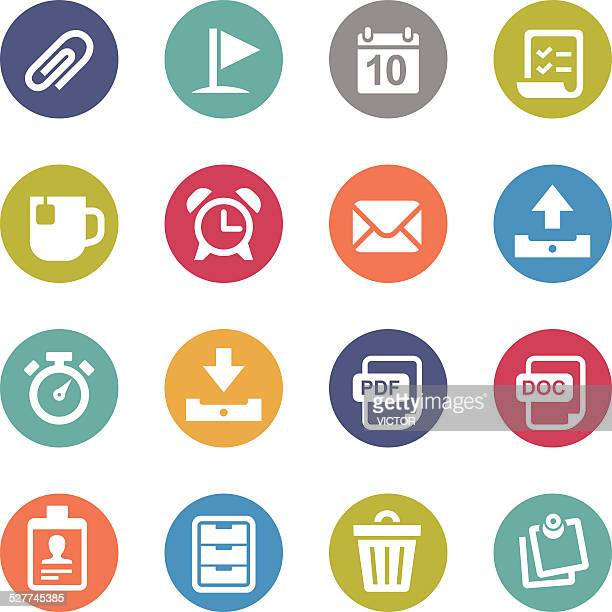 office icons - circle series - rolodex stock illustrations, clip art, cartoons, & icons