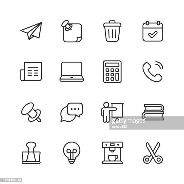 オフィスアイコン。編集可能なストローク。ピクセルパーフェクト。モバイルおよび web 用。電子メール、オフィス、カレンダー、ビン、新聞、コーヒーマシン、電卓、ラップトップなどの� - ゴミ容器点のイラスト素材/クリップアート素材/マンガ素材/アイコン素材