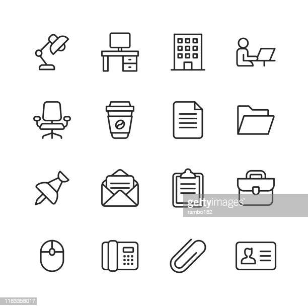 office icons. editable stroke. pixel perfect. for mobile and web. contains such icons as office desk, office, chair, coffee, document, computer mouse, clipboard. - chair stock illustrations
