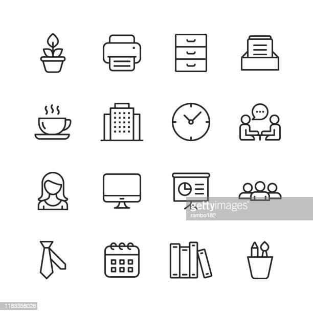 オフィスアイコン。編集可能なストローク。ピクセルパーフェクト。モバイルおよび web 用。オフィス、プラント、プリンタ、オフィスツール、会話、会議、コーヒー、チャートなどのアイ� - 印刷機点のイラスト素材/クリップアート素材/マンガ素材/アイコン素材