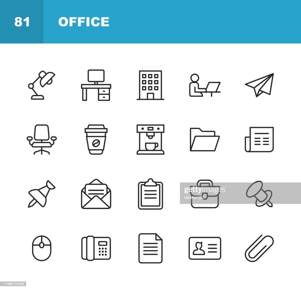 Office-Symbole. Bearbeitbarer Strich. Pixel perfekt. Für Mobile und Web. Enthält Symbole wie Office Desk, Office, Chair, Kaffee, Dokument, Computermaus, Zwischenablage, Licht, Messaging, Kommunikation, E-Mail, Visitenkarte. : Stock-Illustration