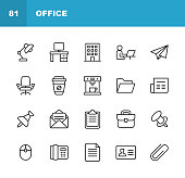Office Icons. Editable Stroke. Pixel Perfect. For Mobile and Web. Contains such icons as Office Desk, Office, Chair, Coffee, Document, Computer Mouse, Clipboard, Light, Messaging, Communication, Email, Business Card.