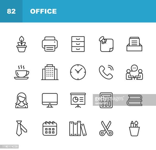 オフィスアイコン。編集可能なストローク。ピクセルパーフェクト。モバイルおよび web 用。オフィス、プラント、プリンタ、オフィスツール、会話、会議、コーヒー、チャート、はさみ、� - プリンター点のイラスト素材/クリップアート素材/マンガ素材/アイコン素材