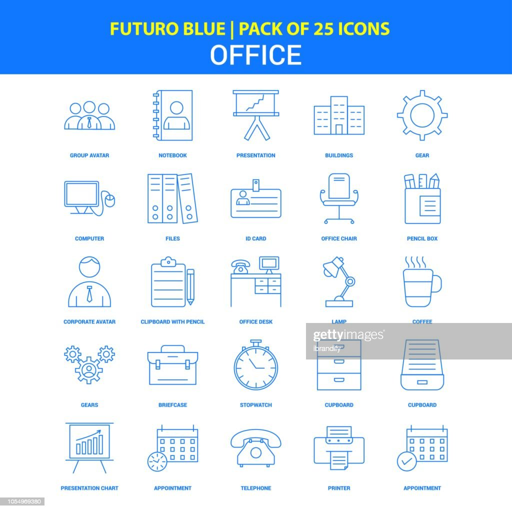 Office Icons - Futuro Blue 25 Icon pack