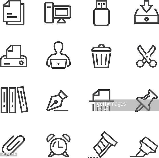 office icons - line series - paper clip stock illustrations, clip art, cartoons, & icons