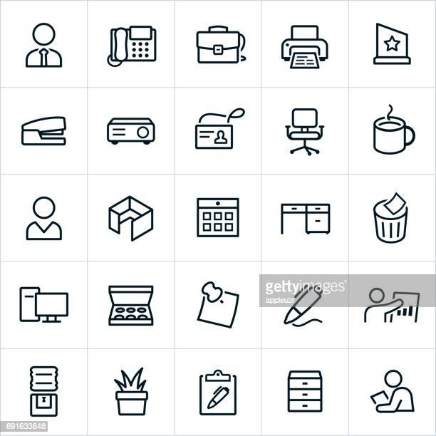 office icons - line style - office cubicle stock illustrations, clip art, cartoons, & icons