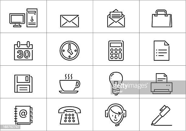 office icons | linea series - floppy disk stock illustrations, clip art, cartoons, & icons