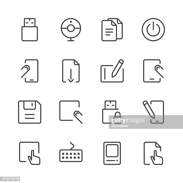 office icons set 1 | black line series - start button stock illustrations, clip art, cartoons, & icons
