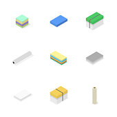 Office icons, set of different paper, vector illustration.