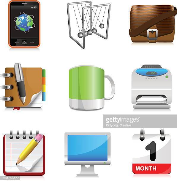 bildbanksillustrationer, clip art samt tecknat material och ikoner med office icons set - newtons pendel