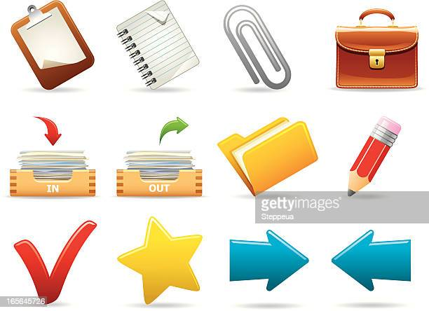 office icons - outbox filing tray stock illustrations