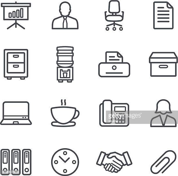 office icons - office chair stock illustrations, clip art, cartoons, & icons