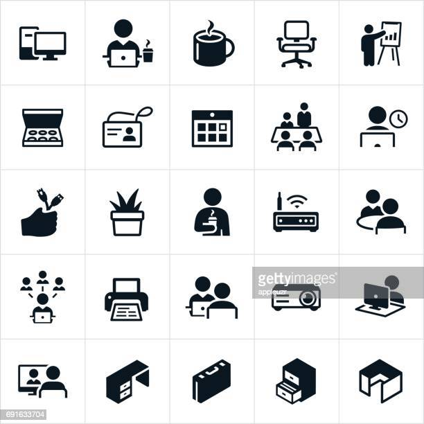 office icons - employee stock illustrations