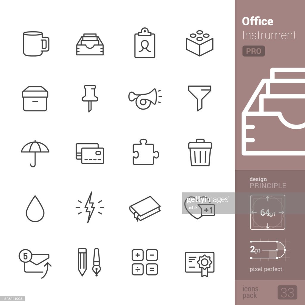 Office Instrument vector icons - PRO pack