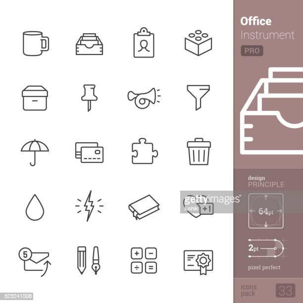 office instrument vector icons - pro pack - desk organizer stock illustrations, clip art, cartoons, & icons