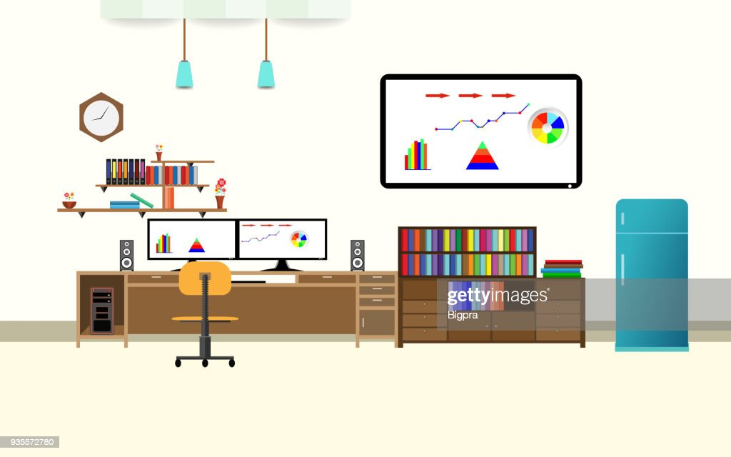 office interior analyze share graph financial business with two compute screen on the table flat design cartoon vector illustration