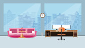 office interior business with two compute screen on the table and Pink sofa,  flat design flat design and building in City blue background vector illustration