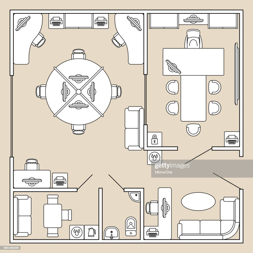 Office interior, top view architecture plan vector illustration