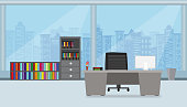 office interior with compute screen on the table  flat design and building in City blue background vector illustration