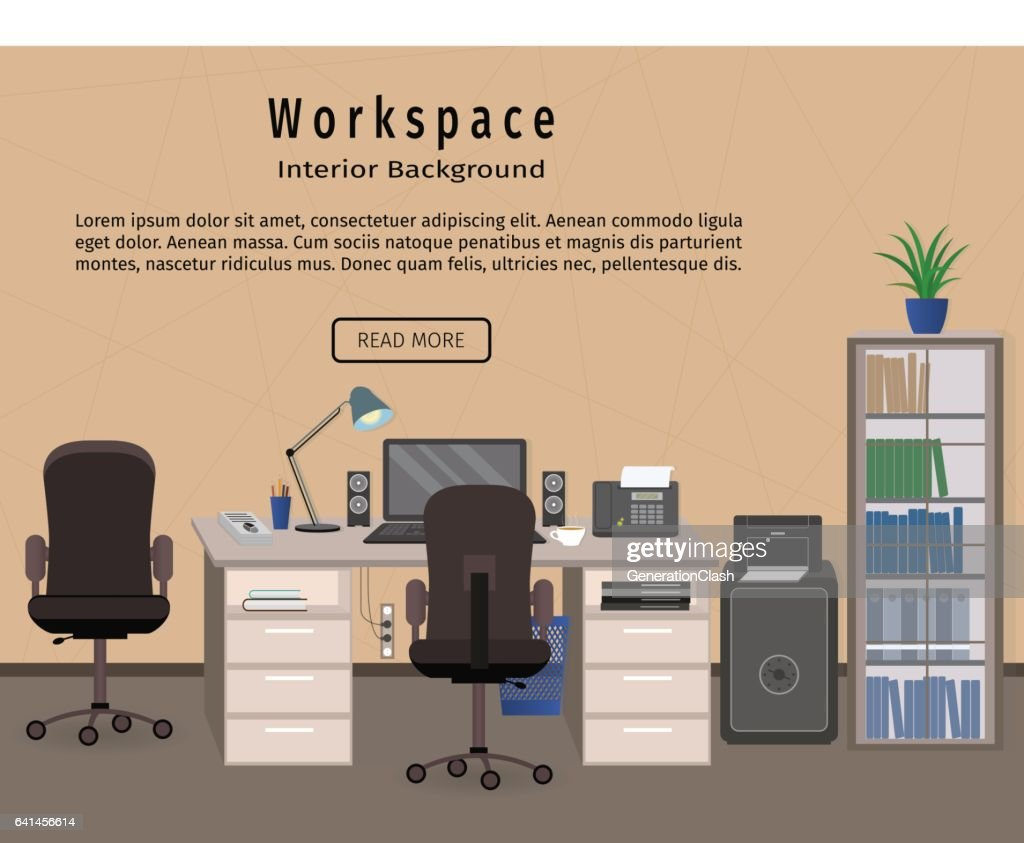 Office Interior Workspace Workplace Organization Concept Web Design Banner High Res Vector Graphic Getty Images