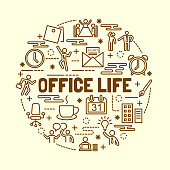 office life minimal thin line icons set