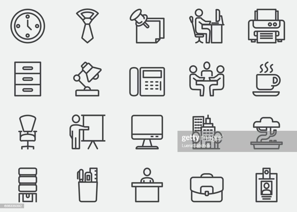 Office Line Icons | EPS10 : stock illustration