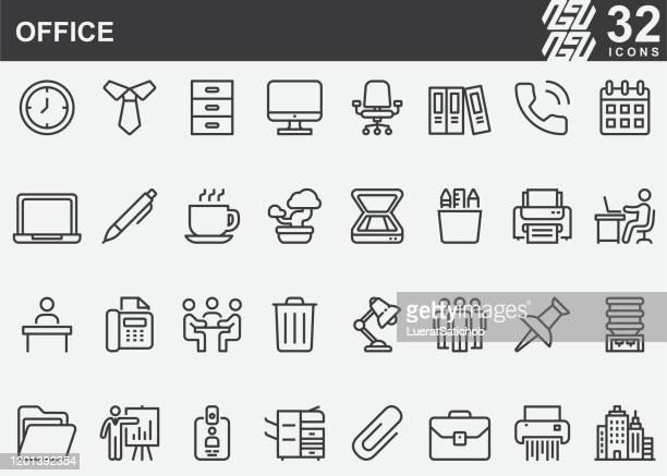 オフィスのライン アイコン - 机点のイラスト素材/クリップアート素材/マンガ素材/アイコン素材