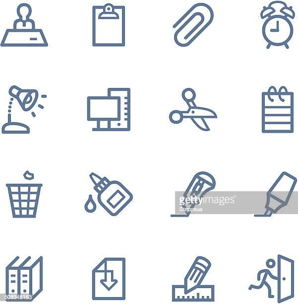 office line icons - disembarking stock illustrations