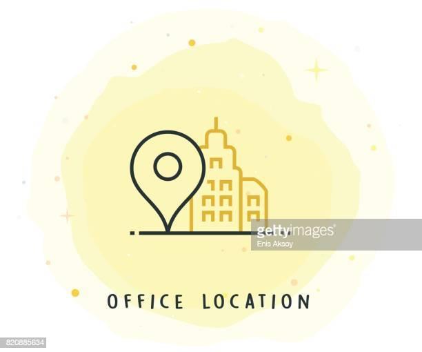 Office Locator-Symbol mit Aquarell-Patch