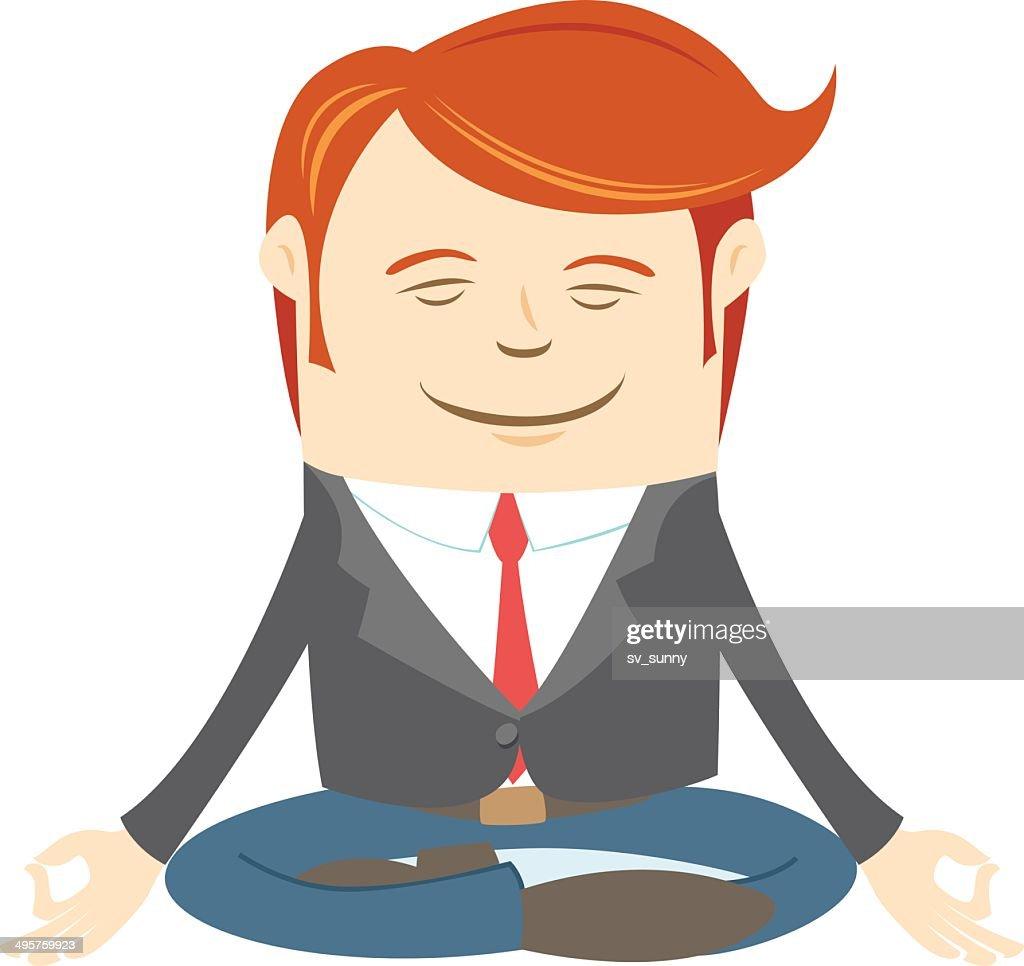 Office man meditating