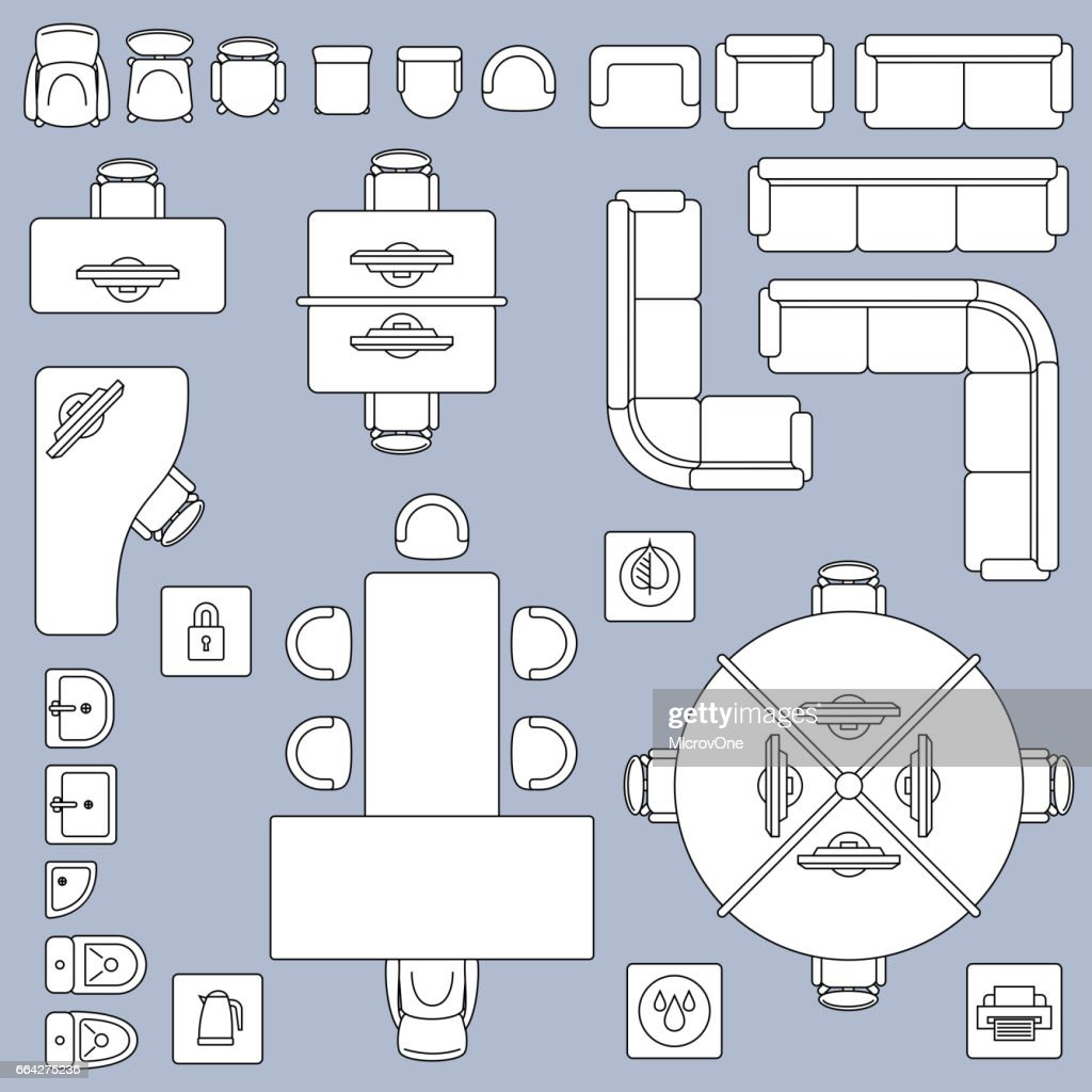 Office meeting furnitures, architecture plan vector line icons