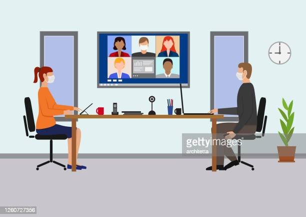 office meeting with video conference, - woman wearing protective face mask stock illustrations